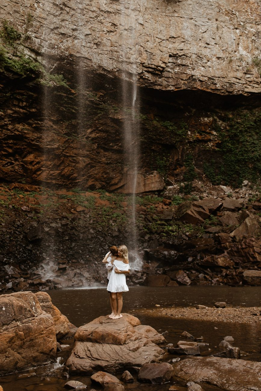 Tennessee destination wedding and adventure elopement photography at cummins falls waterfall in Nashville and Chattanooga